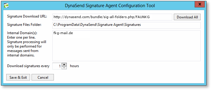 email signatures exchange server configuration screen